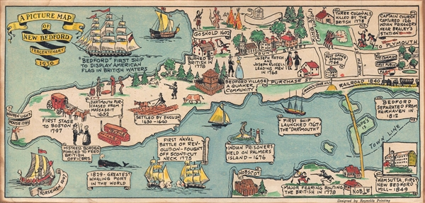 A Picture Map of New Bedford Tercentenary 1930.
