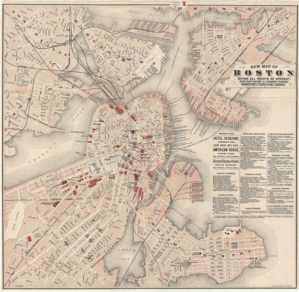 New Map of Boston Giving All Points of Interest : With Every Railway and Steamboat Terminus, Prominent Hotels Theatres and Public Buildings. - Main View