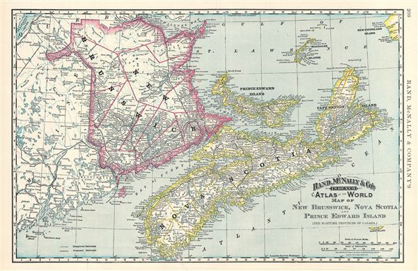 Map of New Brunswick, Nova Scotia and Prince Edward Island (The Maritime Provinces of Canada).