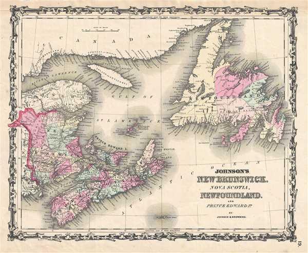 Map Of Canada Newfoundland.Johnson S New Brunswick Nova Scotia Newfoundland And Prince Edward