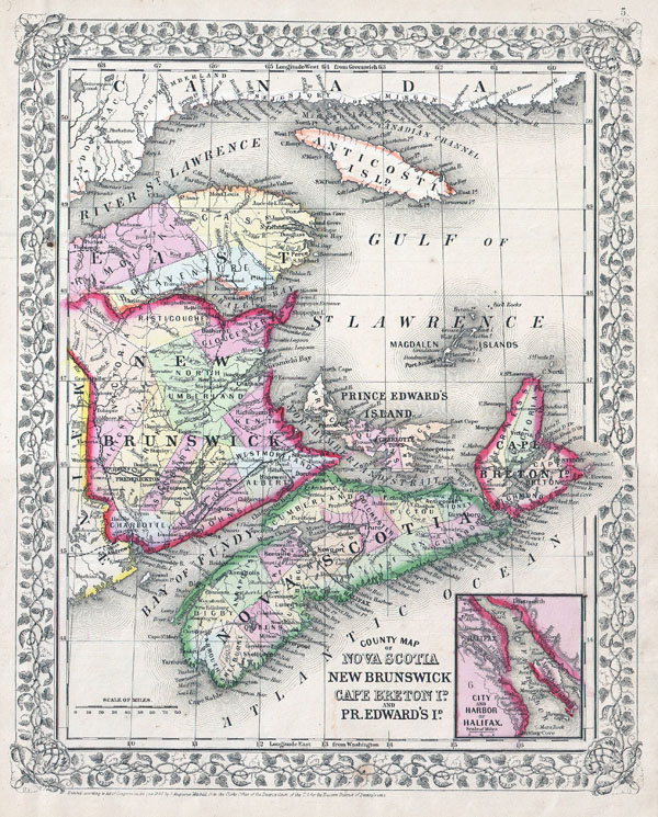 1866 Mitchell Map of New Brunswick and Nova Scotia, Canada