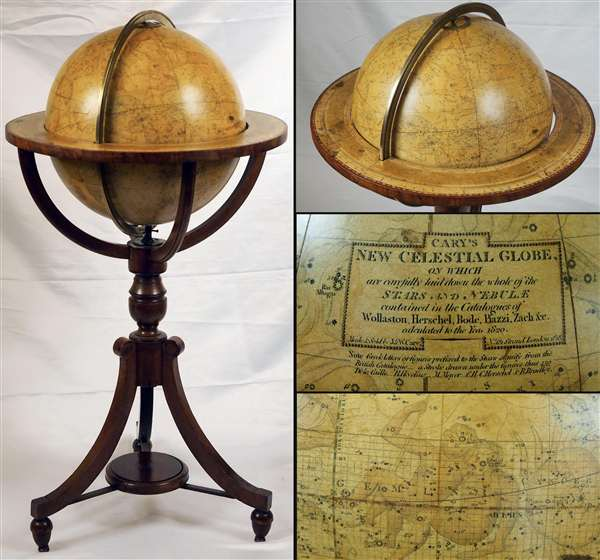 Cary's New Celestial Globe, on which are carefully laid down the whole of the Stars and Nebulae contained in the Catalogues of Wollaston, Herschel, Bode, Piazzi, Zach and c. calculated to the year 1820.