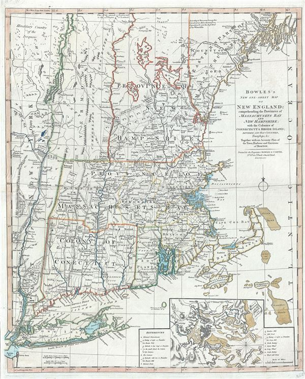Bowles's New One-Sheet Map of New England; comprehending the Provinces of Massachusets Bay And New Hampshire; with the Colonies of Connecticut & Rhode Island; Divided into their Counties, Townships &c. Together with an Accurate Plan of the Town, Harbour and Environs of Boston.