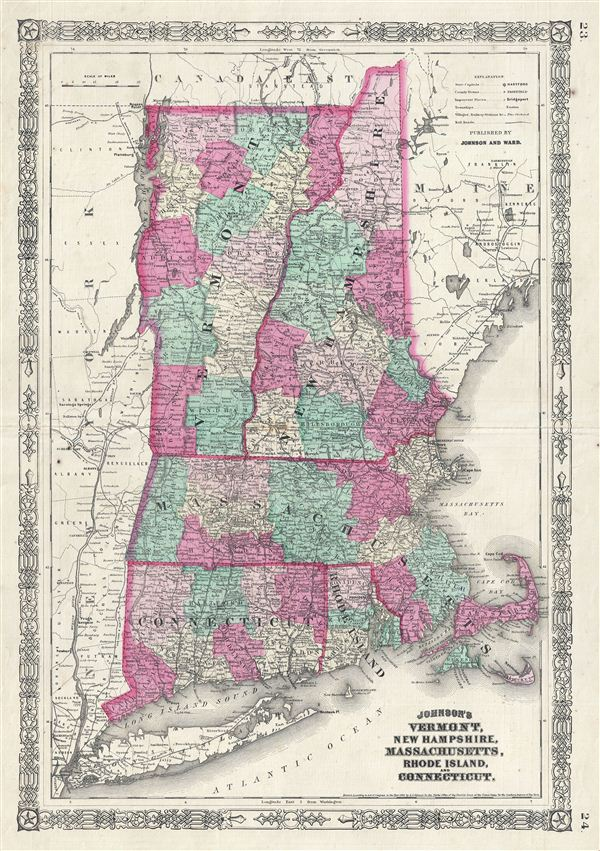 Johnson's Vermont, New Hampshire, Massachusetts, Rhode Island, and Connecticut. - Main View