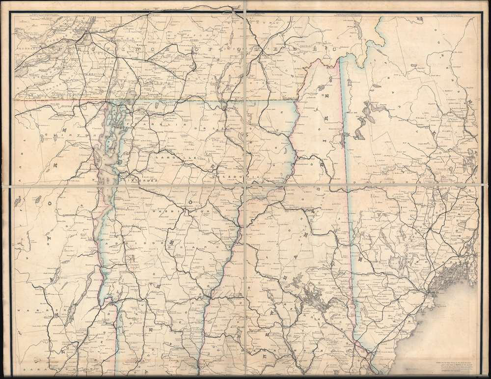 Post Route Map of the States of New Hampshire, Vermont, Massachusetts, Rhode Islands, Connecticut, and Parts of New York and Maine. - Alternate View 2