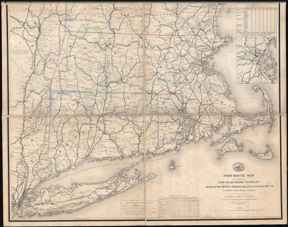 Post Route Map of the States of New Hampshire, Vermont, Massachusetts, Rhode Islands, Connecticut, and Parts of New York and Maine. - Alternate View 3