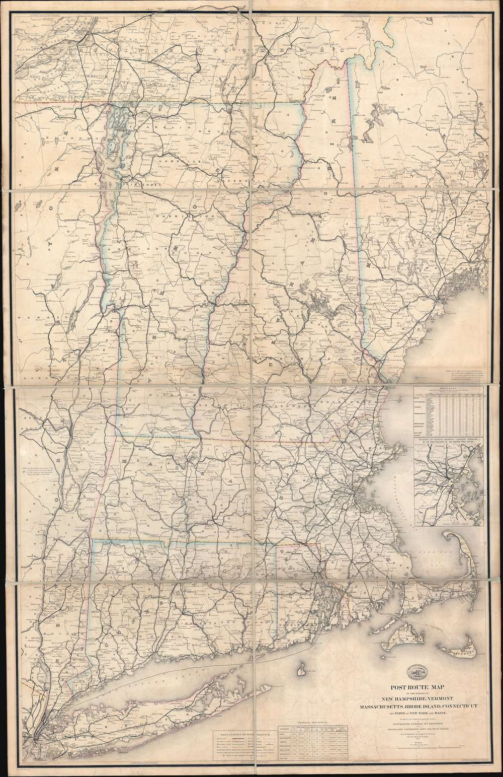 1878 Post Office Dept. Map Wall Map of New England w/ Gold mines?