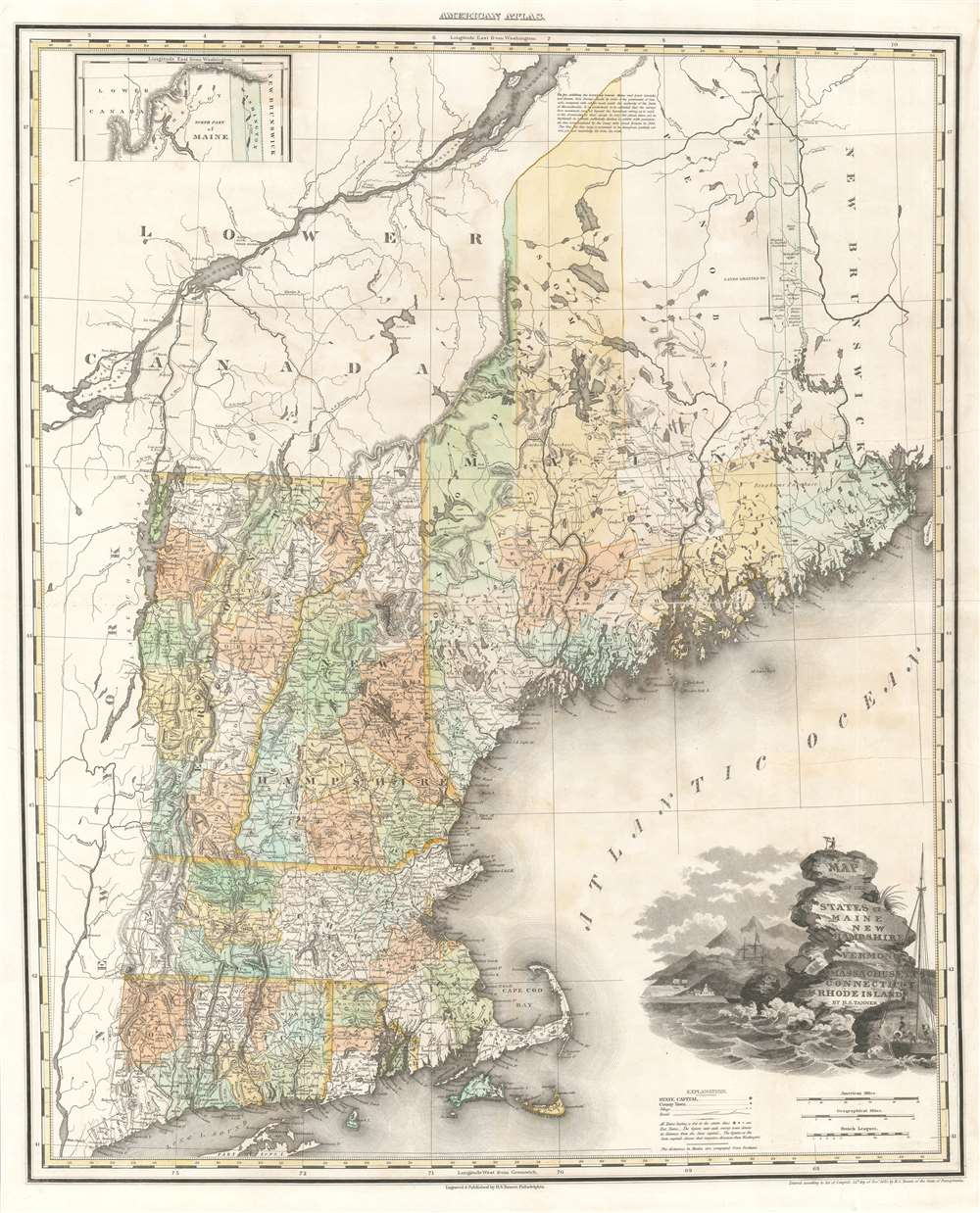 Map of the States of Maine New Hampshire Vermont Massachusetts Connecticut and Rhode Island. - Main View