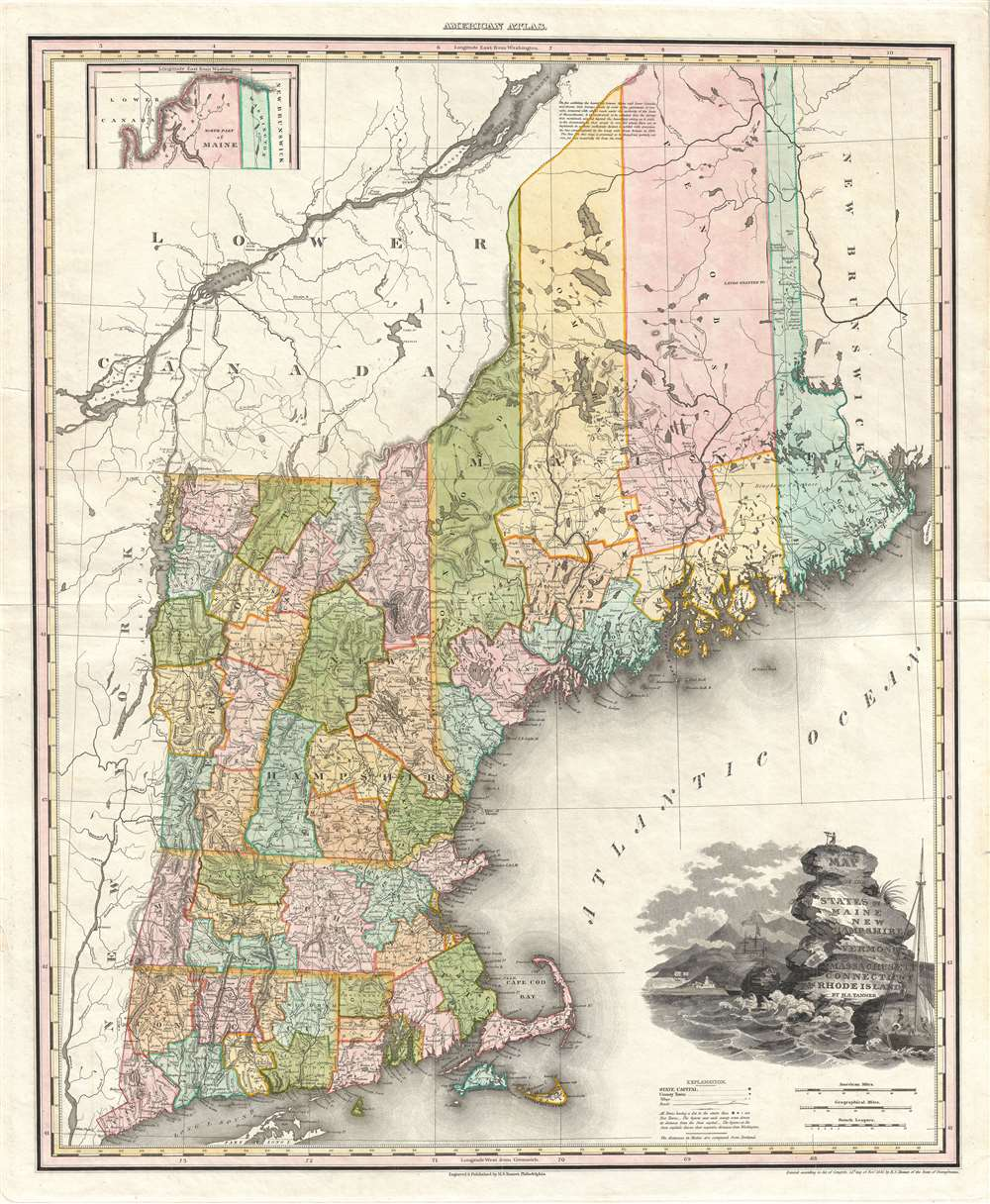 Map of the States of Maine New Hampshire Vermont Massachusetts Connecticut & Rhode Island.