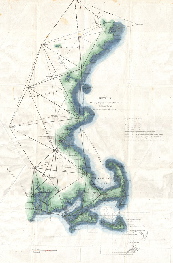Sketch A Showing the Progress in Section No. 1 U.S. Coast Survey in 1844 - 45 - 46 - 47 & - 48