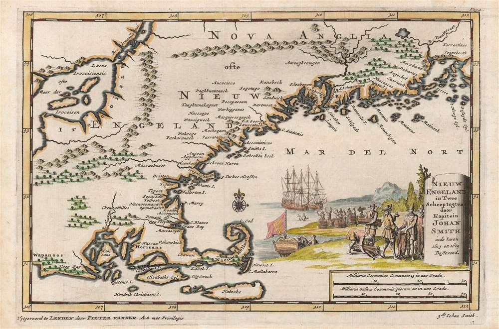 Nieuw Engeland in Twee Scheeptogten door Kapitein Johan Smith inde Iaren 1614 en 1615 Bestevend. - Main View