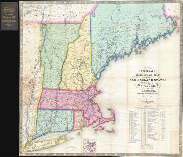 Williams\' Telegraph and Rail Road Map of the New England States ...
