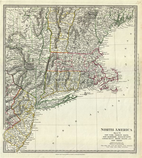 North America Sheet VI New-York, Vermont, Maine, New-Hampshire, Massachusetts, Connecticut, Rhode-Island, and New-Jersey.