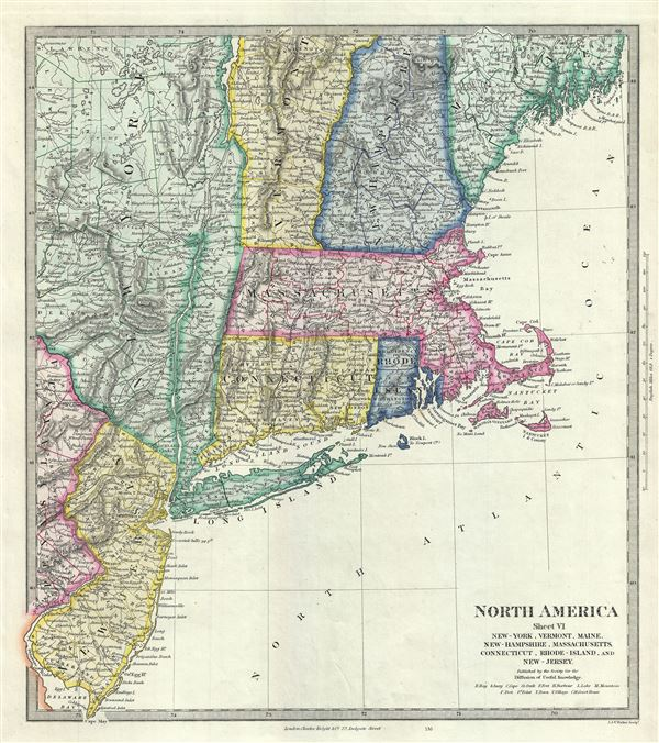 North America Sheet VI NewYork Vermont Maine NewHampshire