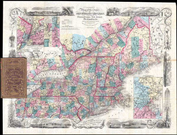 Colton's Map of the States of New England and New York with parts of Pennsylvania, New jersey, the Canadas & co. showing the rail roads, canals and stage roads with distances from place to place.