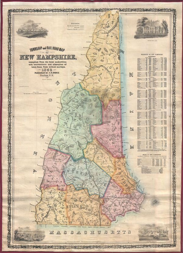 Township And Rail Road Map Of New Hampshire Compiled From The Best - Antique map of maine