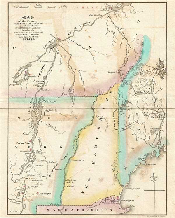 Map of the Country which was the scene of the Northern Army Including the Wilderness through which Gen. Arnold marched to attack Quebec.