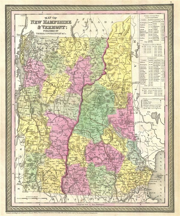 Map of New Hampshire & Vermont.