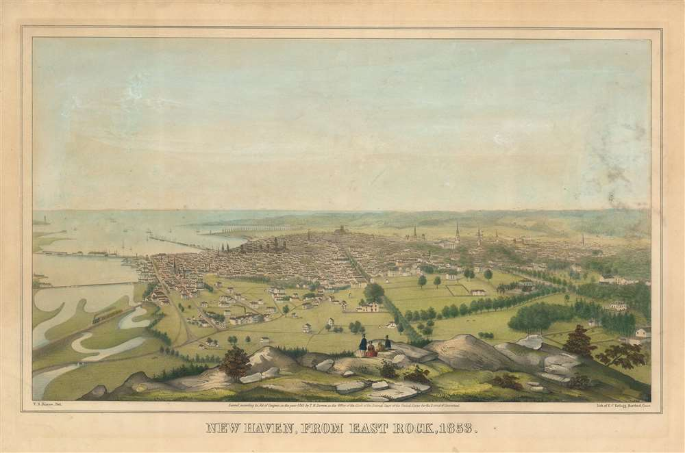 New Haven, From East Rock, 1853.