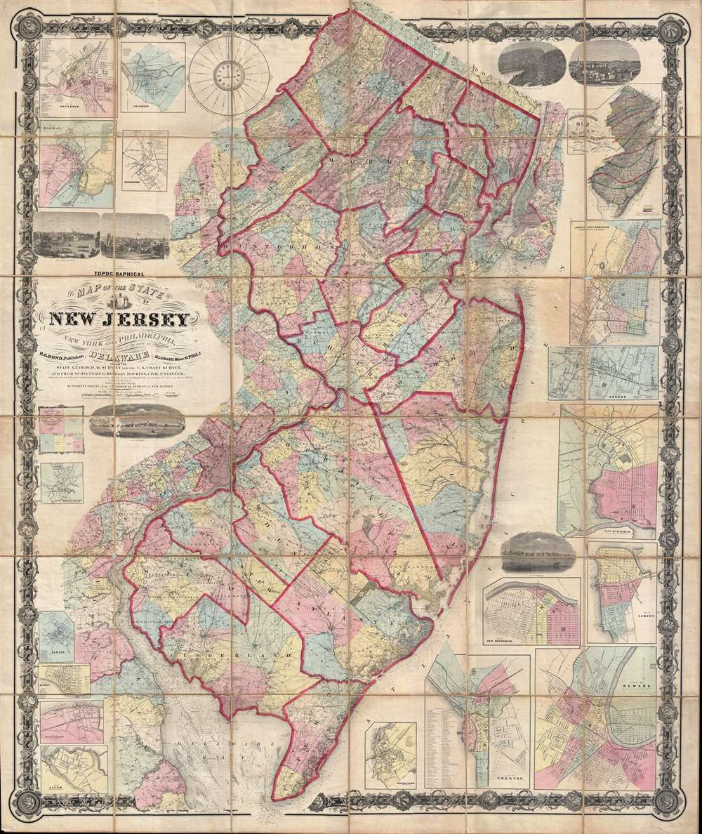 Topographical map of the State of New Jersey together with the vicinities of New York and Philadelphia, and with most of the state of Delaware from the State Geological Survey and the U.S. Coast Survey, and from surveys by G. Morgan Hopkins, civil engineer.