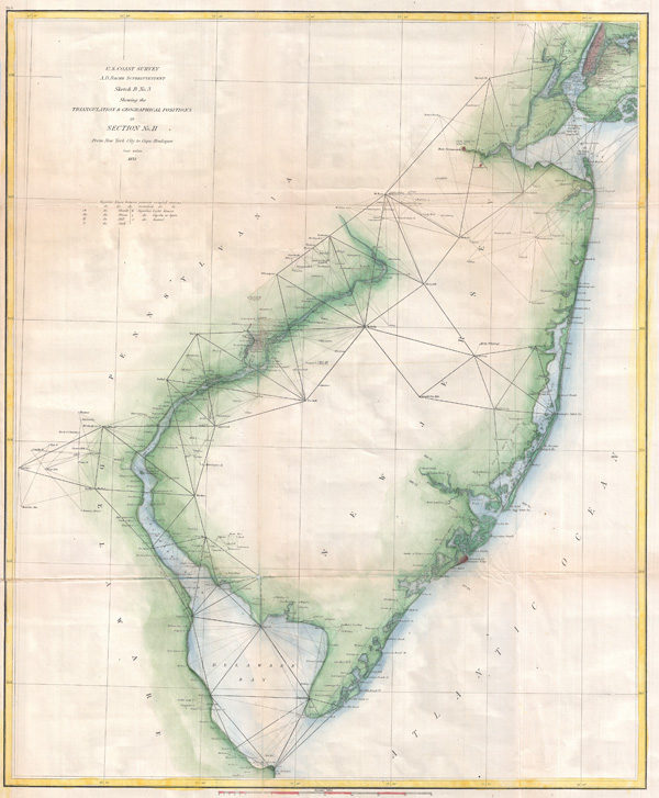Sketch B No. 3 Showing the Triangulation & Geographical Positions in Section No. II From New York City to Cape Henlopen.