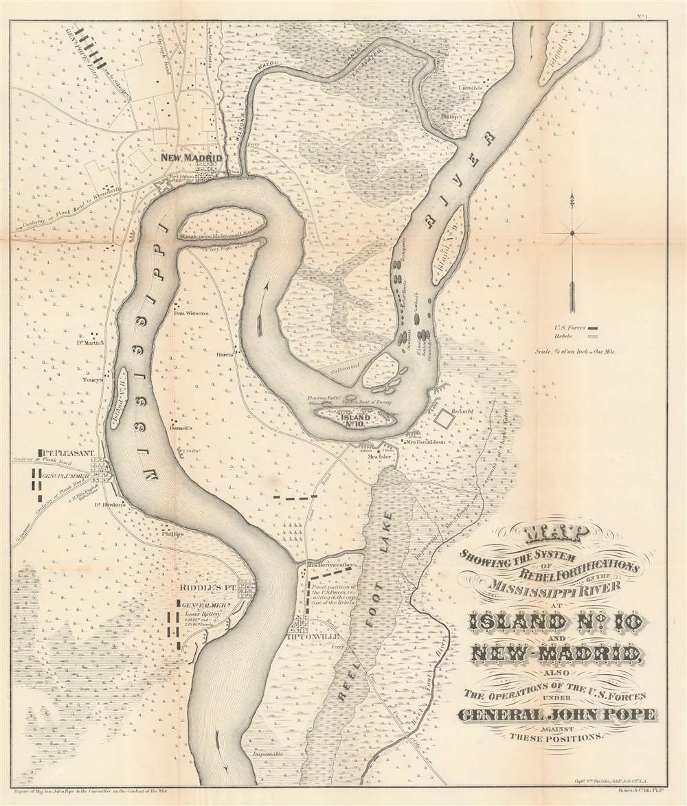 Map showing the system of rebel fortifications on the Mississippi River at Island No. 10 and New Madrid, also the operations of the U.S. forces under General John Pope against these positions. - Main View