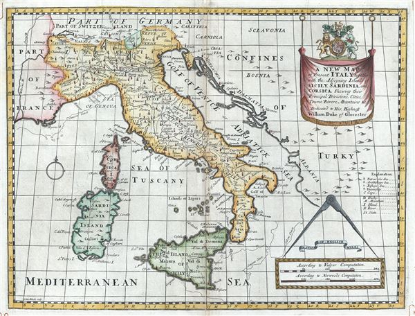 A New Map of Italy, together with the Adjoyning Islands of Sicily, Sardinia, and Corsica, Shewing their Principal Divisions, Cities, Towns, Rivers, Mountains etc.