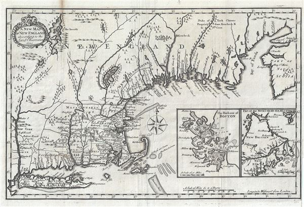 A New Plan of New England According to the Latest Observations 1720.