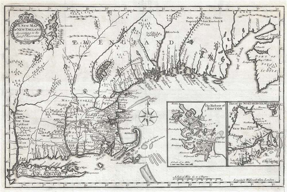 A New Plan of New England According to the Latest Observations 1720. - Main View