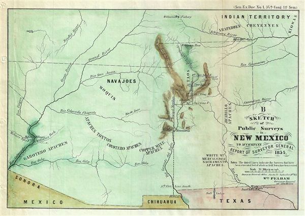 B Sketch of Public Surveys in New Mexico to Accompany Report of Surveyor General 1855. - Main View