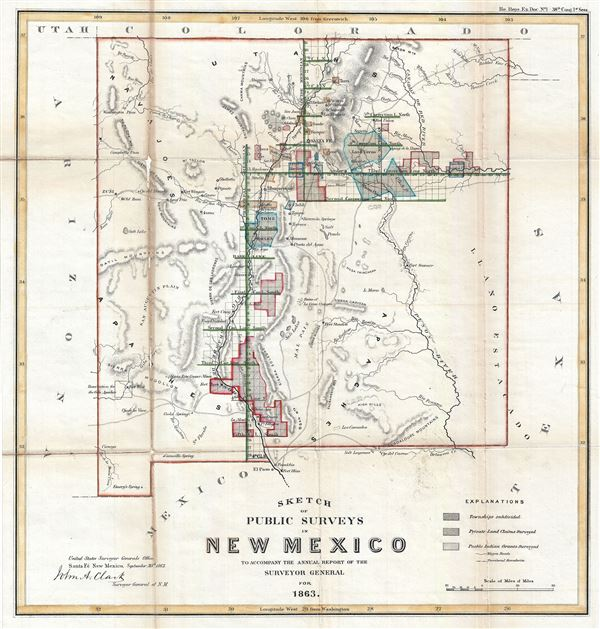 Sketch of Public Surveys in New Mexico to Accompany the Annual Report of the Surveyor General for 1863. - Main View