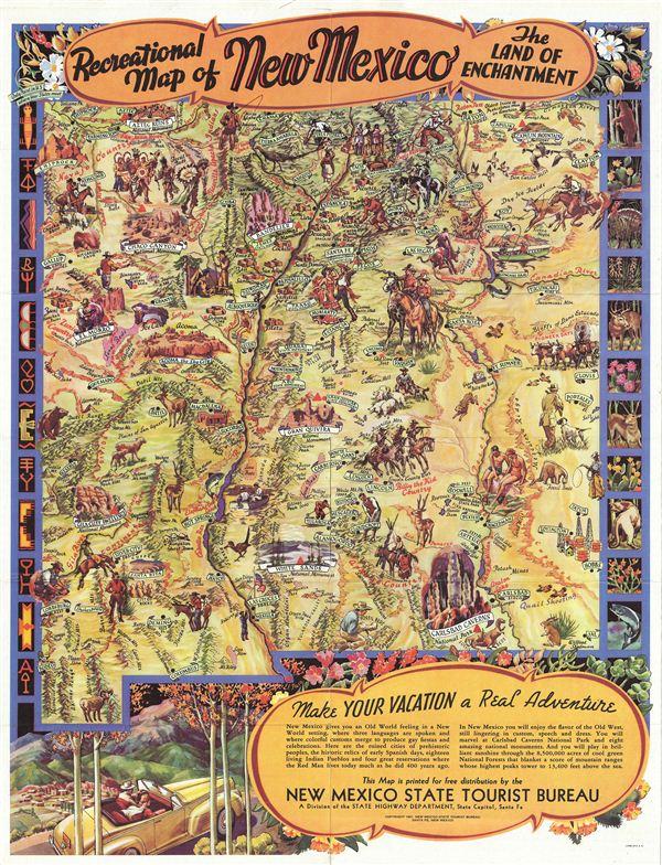 Recreational Map of New Mexico The Land of Enchantment.