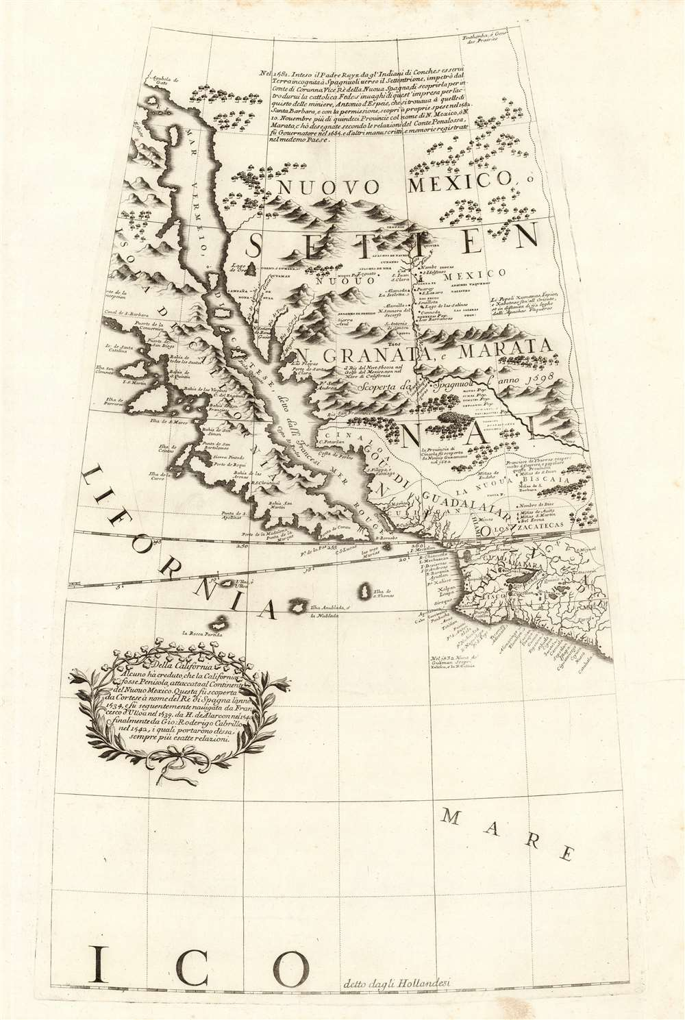 1688 / 1697 Coronelli Globe Gore of New Mexico and California as an Island