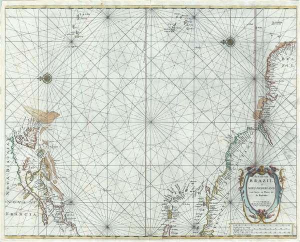 Pas Caart van Brazil en Nieu-Nederland van corvo en Flores tot de Barbados.