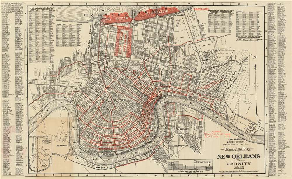 Map of the City of New Orleans and Vicinity. July 1925.