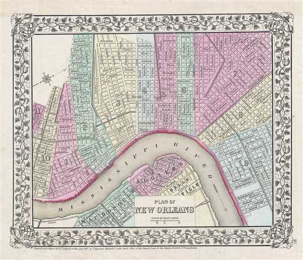 Plan of New Orleans.: Geographicus Rare Antique Maps S In New Orleans Map on