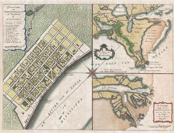 1769 Isaak Tirion Map of New Orleans
