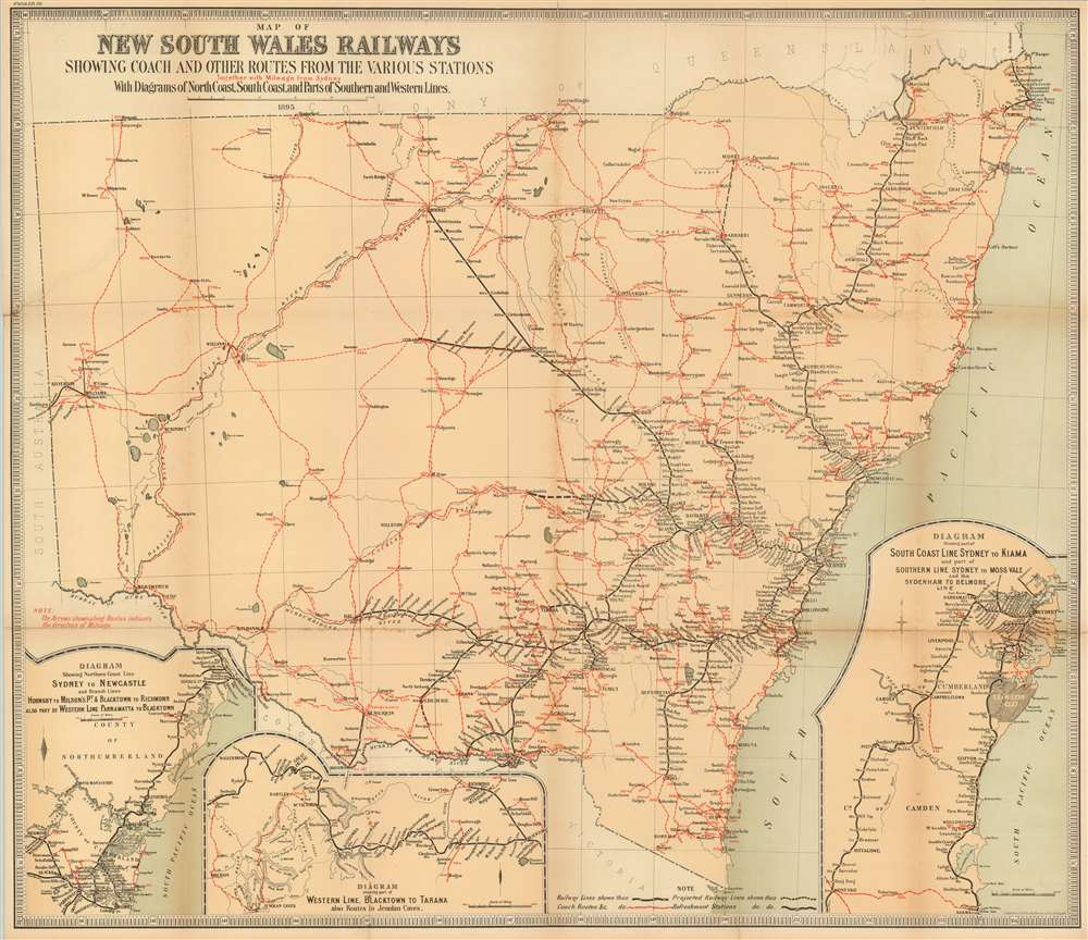 Map of New South Wales Railways Showing Coach and Other Routes From Kiama Australia Map on new south wales australia map, perth australia map, grand pacific drive australia map, cronulla beach australia map, moruya australia map, north ryde australia map, avoca beach australia map, townsville australia map, perisher australia map, liverpool australia map, pokolbin australia map, port macquarie australia map, brisbane australia map, sydney australia map, canberra australia map, merimbula australia map, lake mungo australia map, sawtell australia map, hamilton australia map, wollongong australia map,