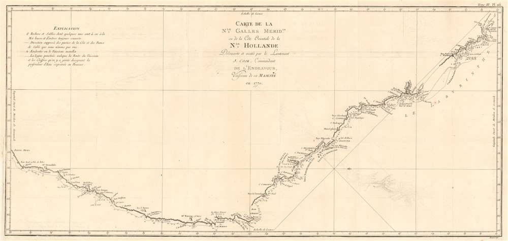 Carte de La Nle. Galles Meridle. Ou de la Cote Orientale de la Nle. Hollande Decouverte et visitee par le Lieutenant J. Cook, Commandant de L'Endeavour, vaisseau de sa Majeste en 1770. - Main View