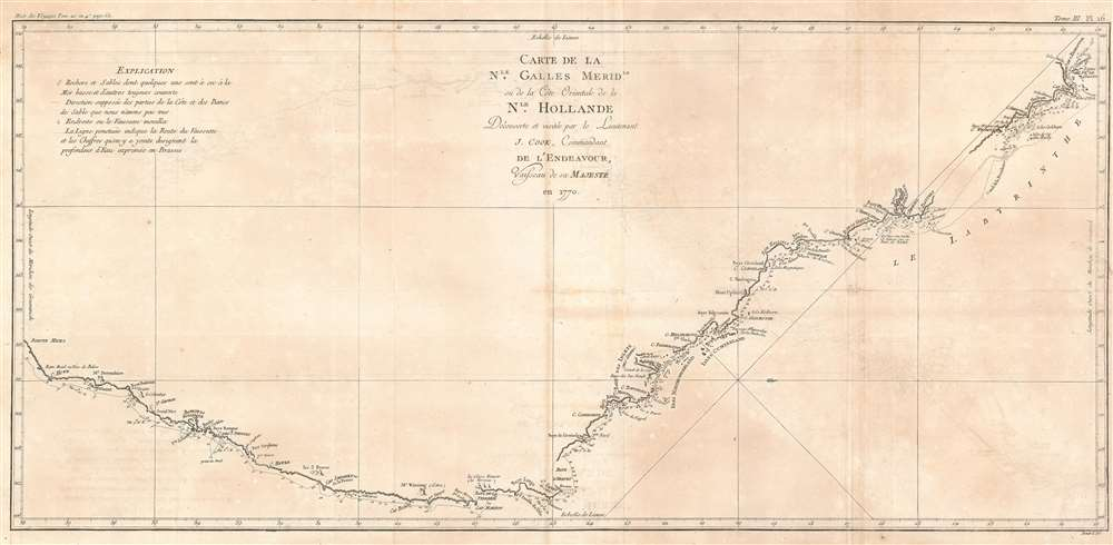 1774 Cook Map of New South Wales, Australia