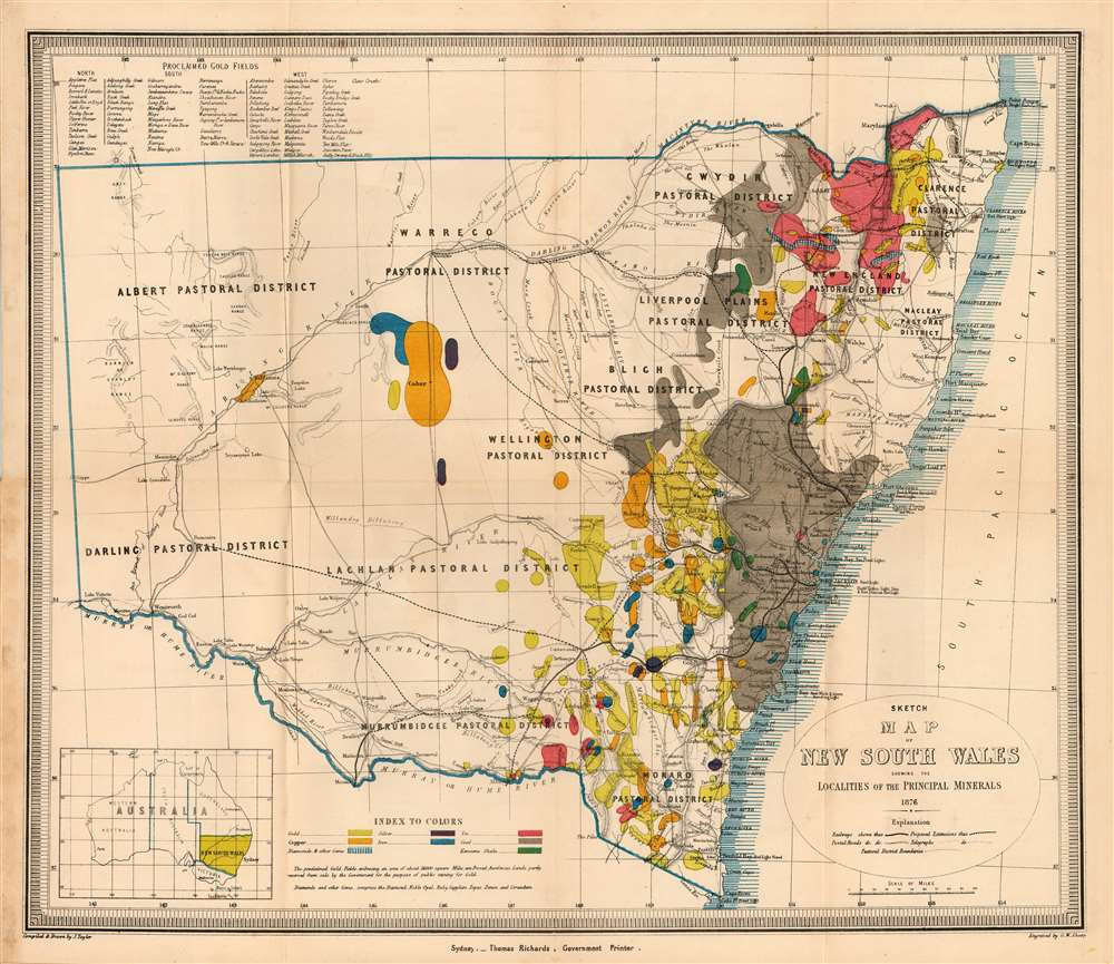 1876 Richards Map of the Gold Fields of New South Wales