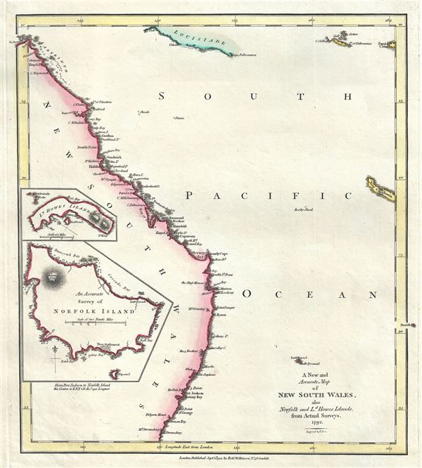A New and Accurate Map of New South Wales, also Norfolk and Ld. Howes Islands, from Actual Surveys.