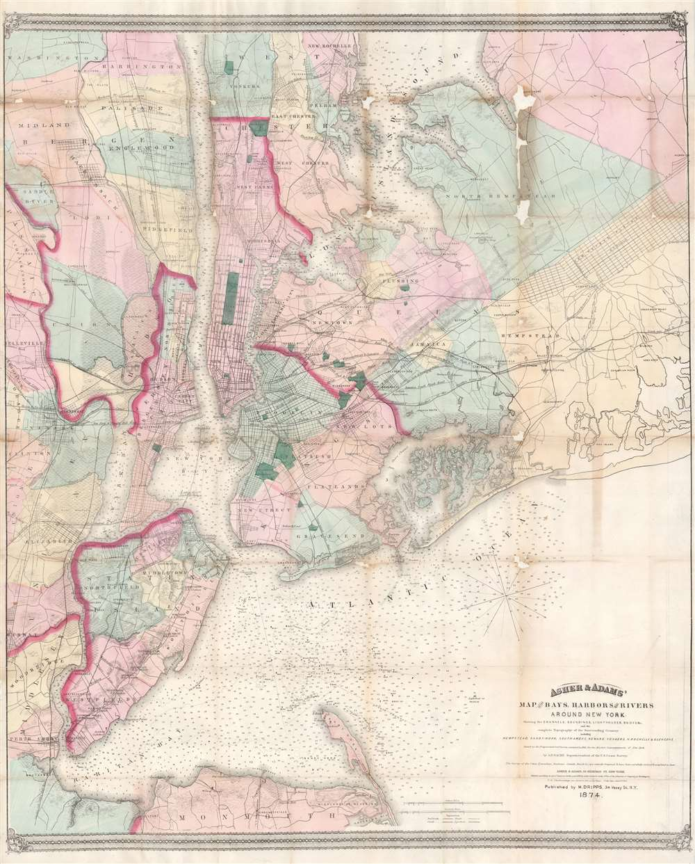 Asher & Adams' Map of the Bays, Harbors and Rivers Around New York: Showing the Channels, Soundings, Lighthouses, Bouys & c. and the Complete Topography of the Surrounding Country: including Hempstead, Sandy-Hook, South-Amboy, Neward, Yonkers, N. Rochelle & Glenn Cove.