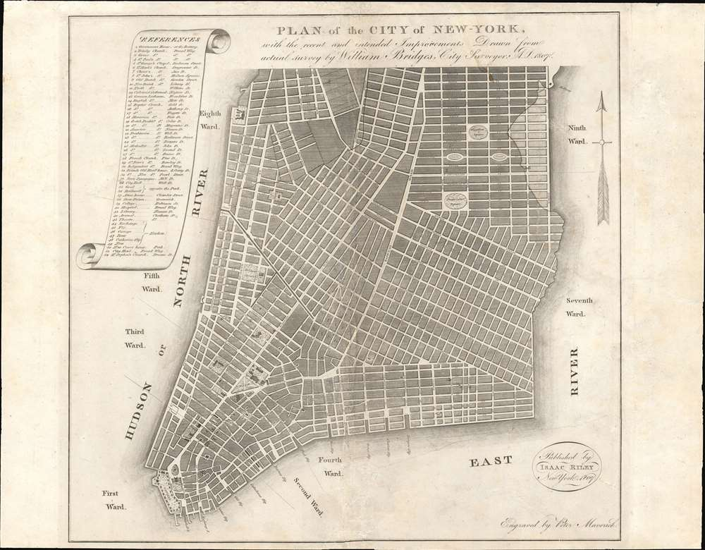 PLAN of the CITY OF NEW-YORK, with the recent and intended Improvements. New York, 1807.