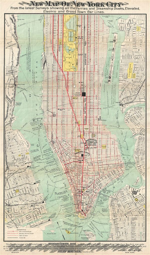 New Reference Map & Guide to New York City.  Executed by Brooks Bank Note Co.  Boston, and Springfield, Mass.  Embodying a Brief History of New York.