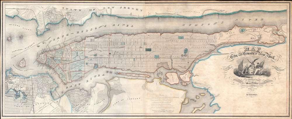 1840 Burr Map of Manhattan, New York City