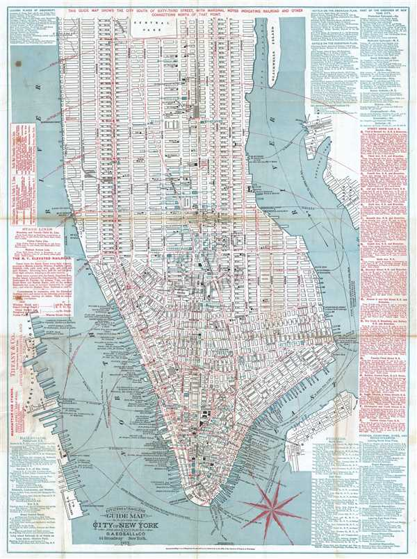 Citizens and Travelers Guide Map in, to and from the City of New York and Adjacent Places.