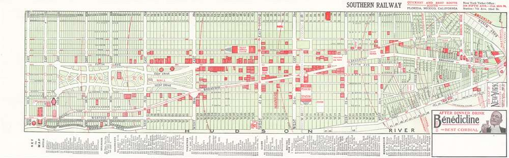 1907 Hotel Booklet City Map or Plan of Manhattan, New York City