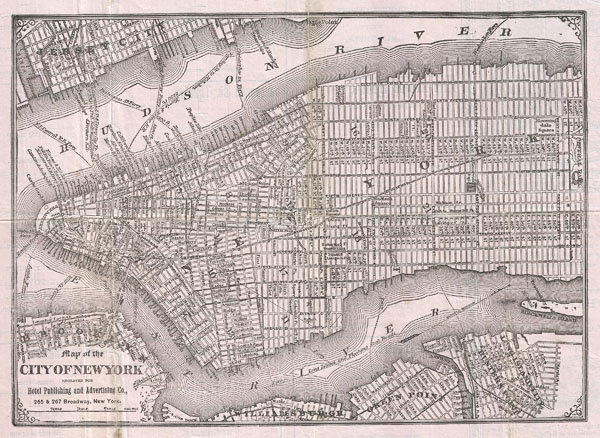 Map of the City of New York engraved for Hotel Publishing and Advertising Co.