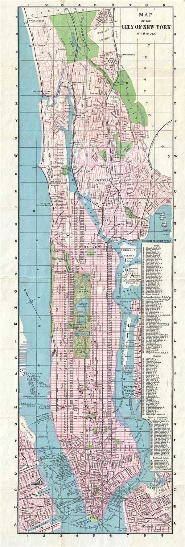 Map of the City of New York with Index.